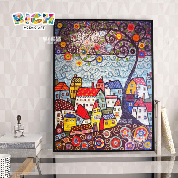 RM-AT06 Abstract Mosaic Painting Handmade Bedroom Tiles Design Glass Wall Mural