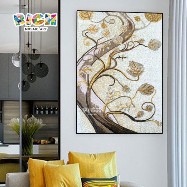 RM-AT09 Resumen la hoja de oro árbol arte mosaico