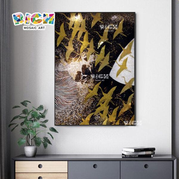 RM-AT10 Красивая золотая птица Mural Плитка Декоративная стеклянная мозаика стены