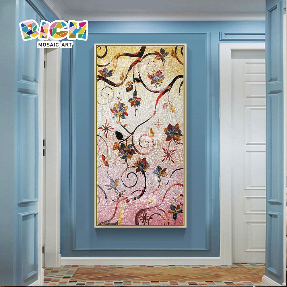 RM-AT16 Exquisite Hand geschnitten und abstrakten Blumen Malerei Glas Mosaik Wandbild
