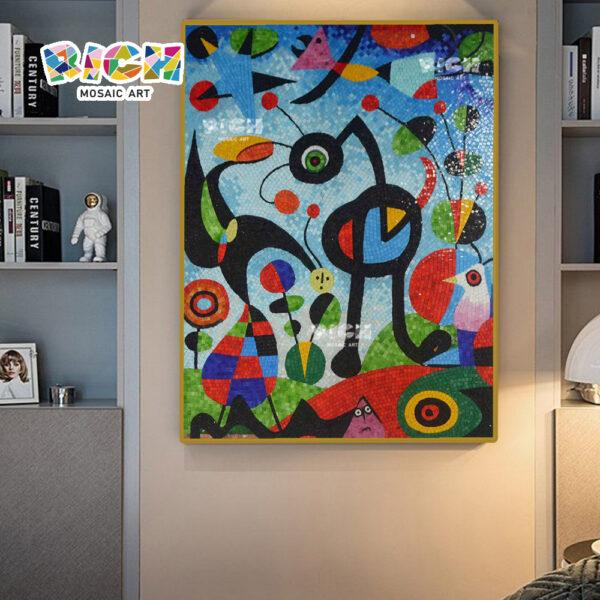 RM-AT17 Стена гостиной висящая абстрактная картина Стеклянная мозаика