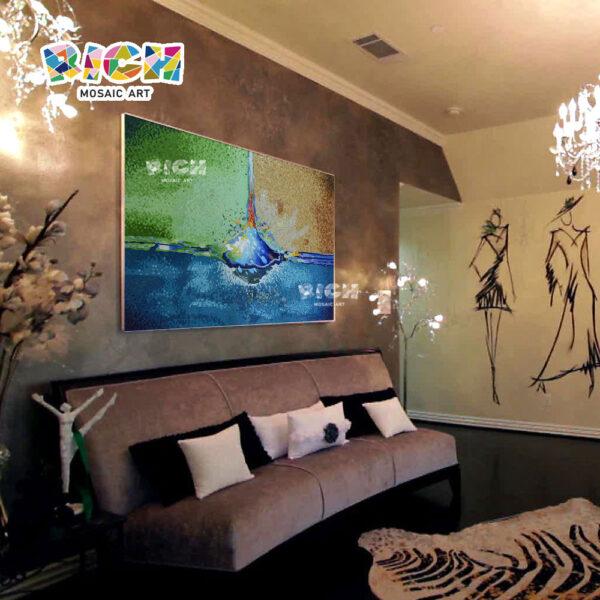 RM-AT18 νερό πτώση μωσαϊκό σύγχρονη τοιχογραφία σαλόνι