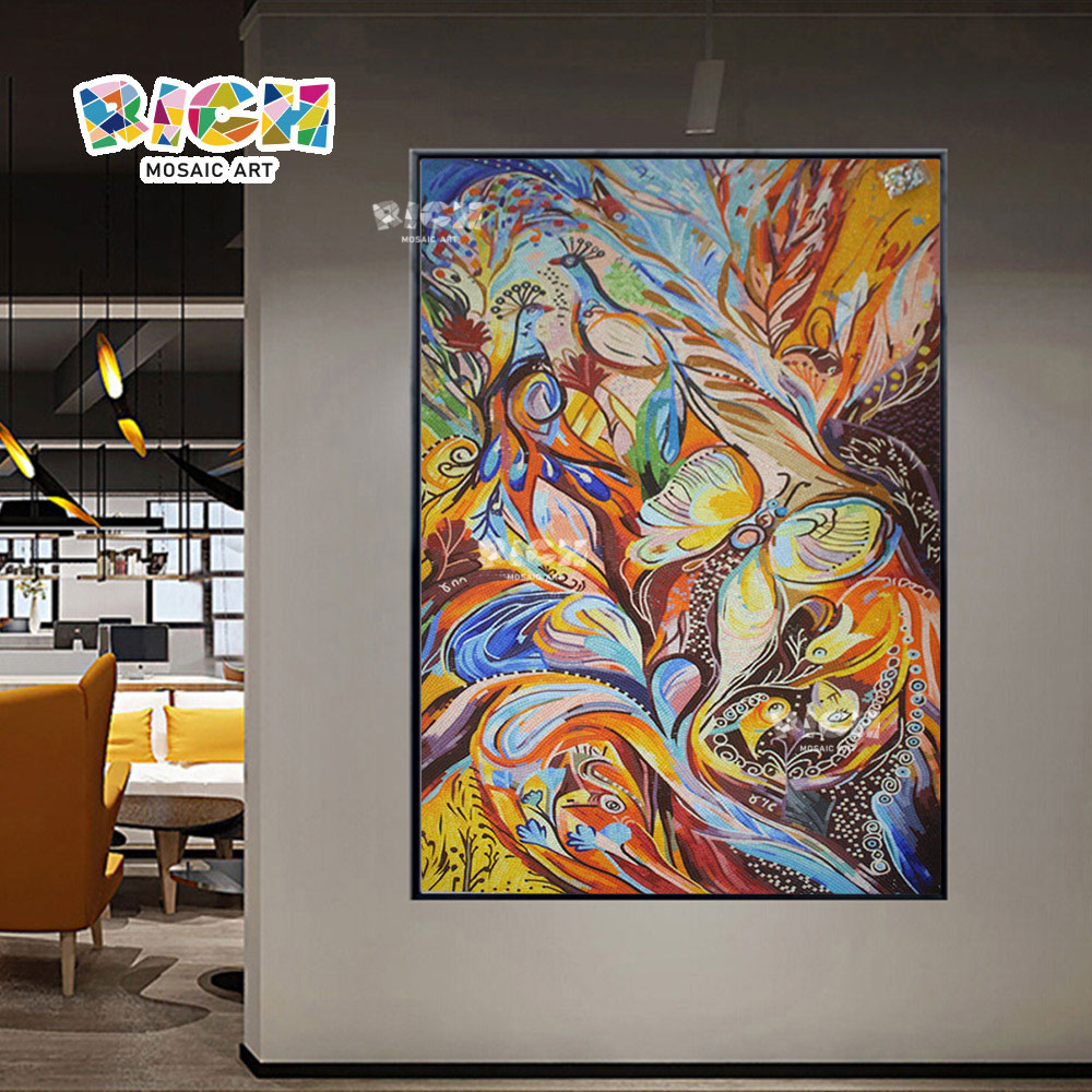 RM-AT24 красочные бабочки абстрактный фон мозаики ресторан украшения