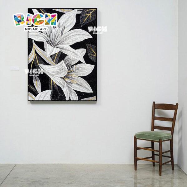 Corte de la mano de lujo RM-FL02 Mural mosaico arte de Lily