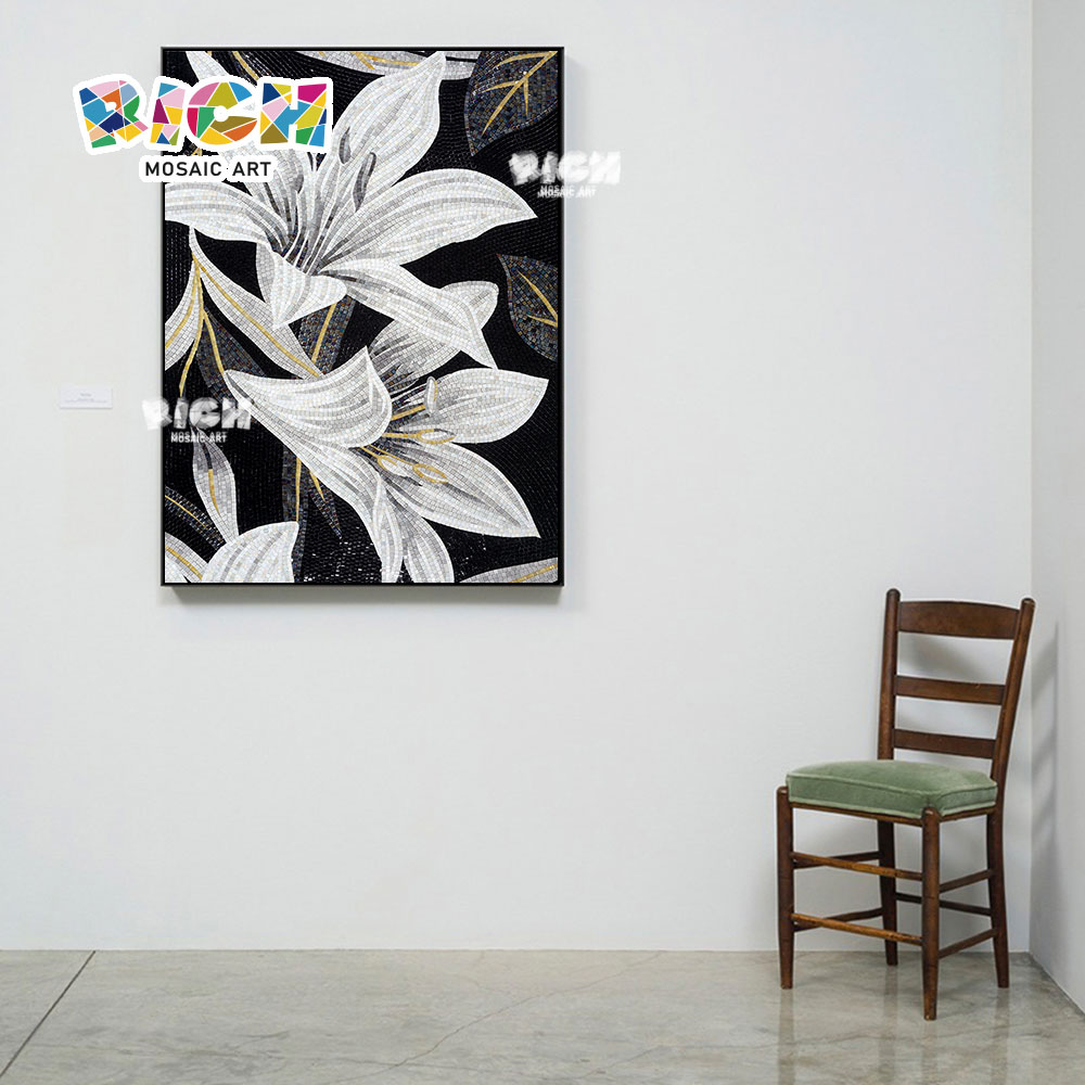RM-FL02 luxe main coupée murale lis Art mosaïque
