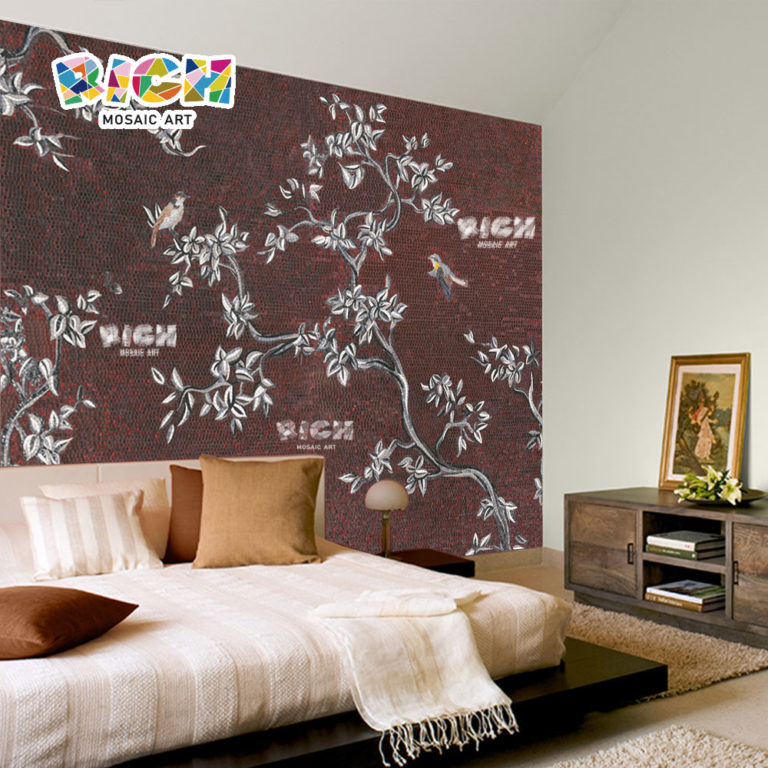 RM-FL03 Brown Background Tree Bird Pattern Glass Design Mural Art Mosaic