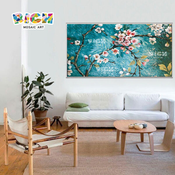RM-FL05 Peach Blossom Picture For Interior Wall Mosaic Decoration