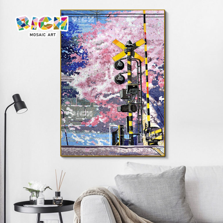 RM-FL06 Pink Cherry Blossom Mosaic Japanese Wall Mural