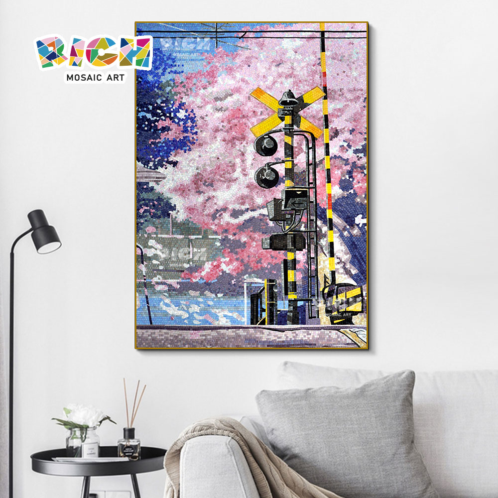 RM-FL06 الوردي الكرز زهر الفسيفساء جدارية الحائط اليابانية