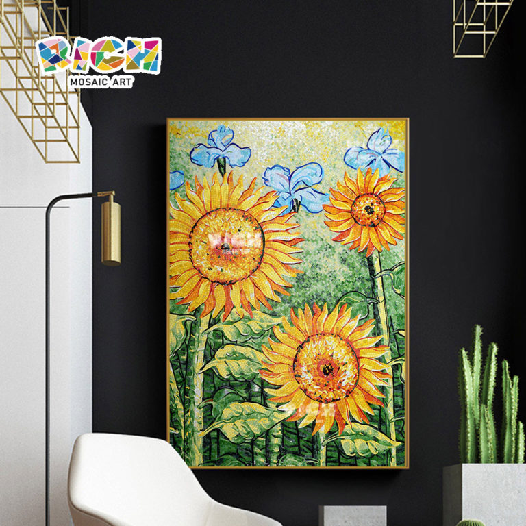 RM-FL07 Sunflower Pattern Yellow Gold Glass Wallpaper Design Art Mural Mosaic