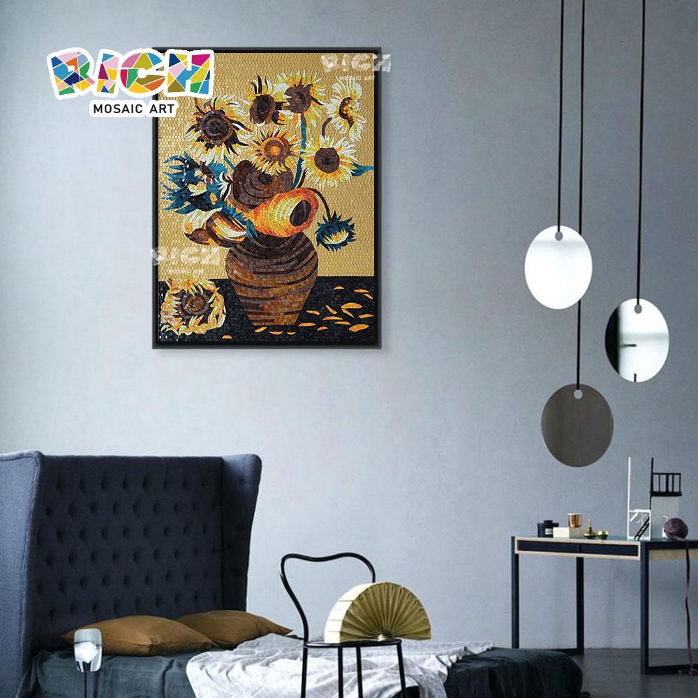 RM-FL08 Ван Гог подсолнечника стеклянная мозаика Настенная живопись