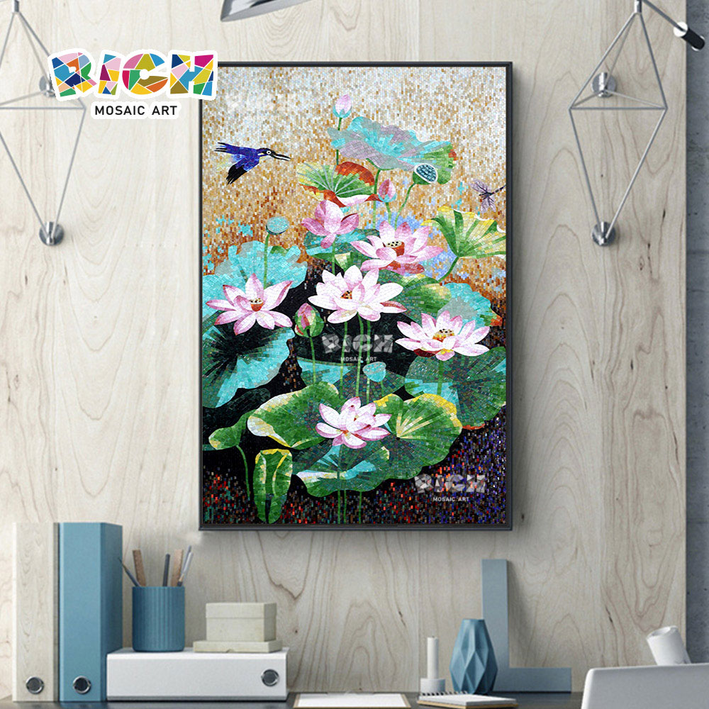 RM-FL09 Seerose Bild Premium Mosaik Kunst Wandbild