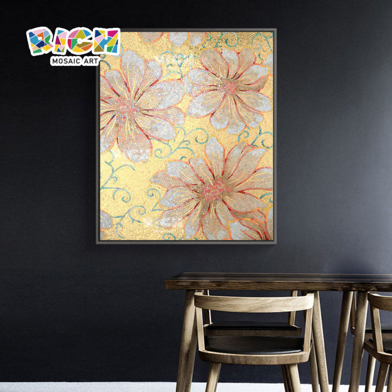RM-FL10 Hot Sale Gold Background Art Flowers Mural Patterns