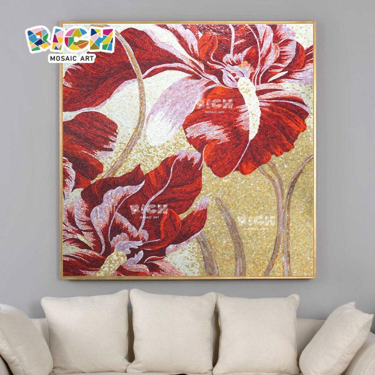 RM-FL12 Personalizado Prefab Deluxe Diseño de interiores vidrio rojo mosaico flor azulejos de pared para la venta