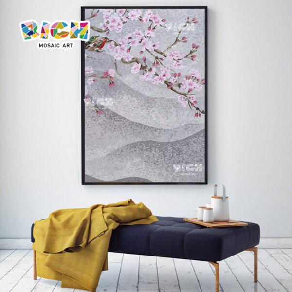 RM FL13 ดอกไม้สีชมพูผนังโมเสกรอยแยก