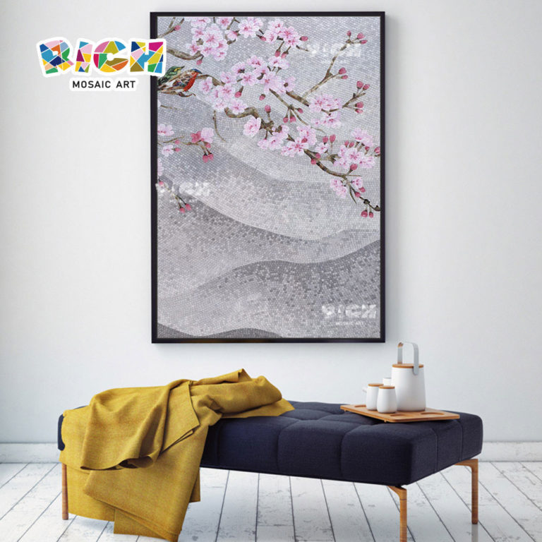 RM-FL13 rosa Blume Wand Mosaik Backsplash