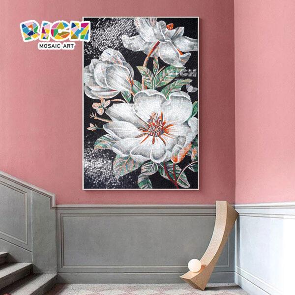 RM-FL14 paroi murale noir fleur blanche dosseret Tile mosaique