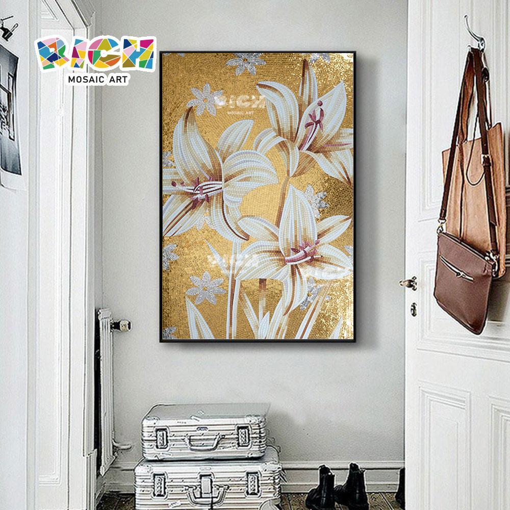 RM-FL17 personnalisé taille verre White Lily Flower Pattern tuile de mosaïque
