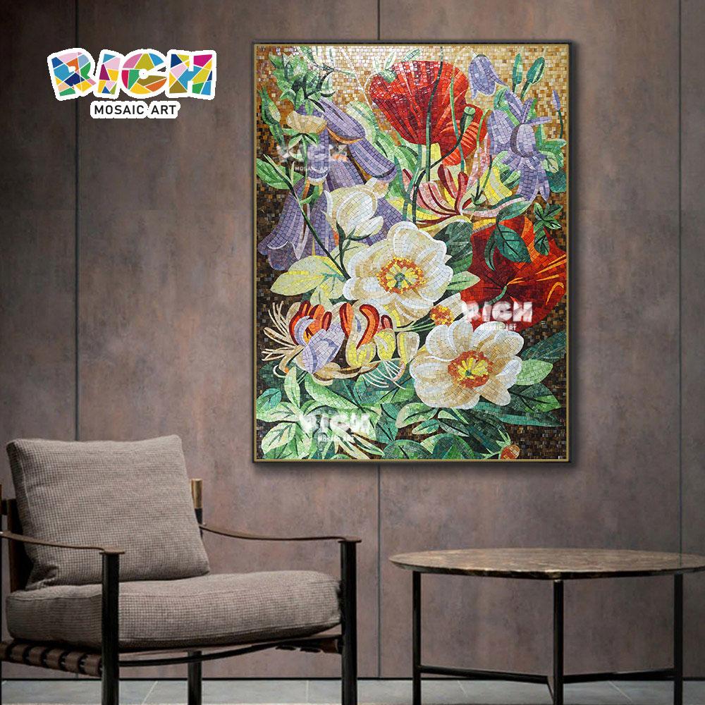 RM-FL18 Hermoso moderno flor vidrio mosaico patrón mural