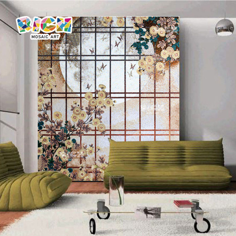 RM-FL19 Custom Daisy Picture Design Glass Mosaic Wall Art Murals