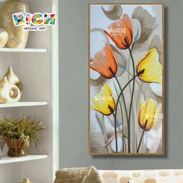 RM-FL20 Blooming Tulips Handmade Ice Jade Hand Cut Glass Mosaic Art