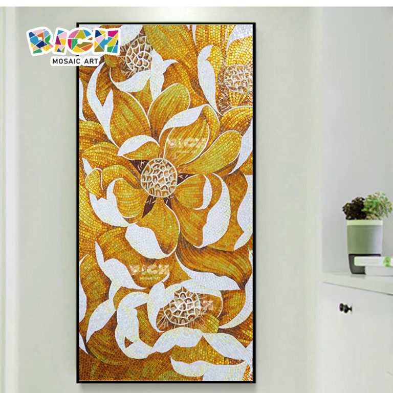 RM-FL21 Colorful Home Decoration Golden Select Mosaic Flower Wall Tile