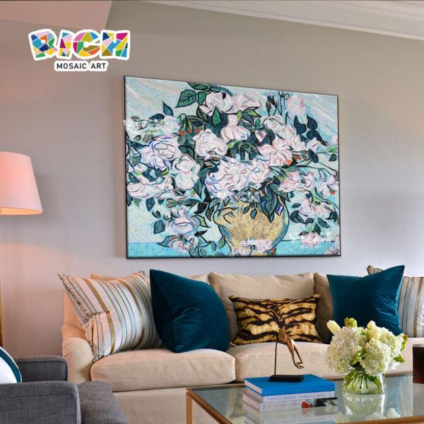 FL22 ดอกไม้แจกันรูปแบบโมเสคศิลปะสำหรับตกแต่งผนัง