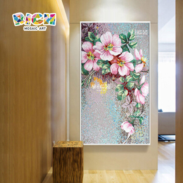 RM-FL27 Peach Flower Wall Backsplash Living Room Glass Mural Art Mosaic