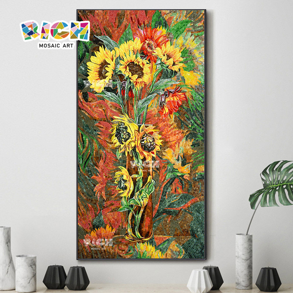 RM-FL29 Multiple Sunflowers DIY Wall Hanging Glass Painting Mural