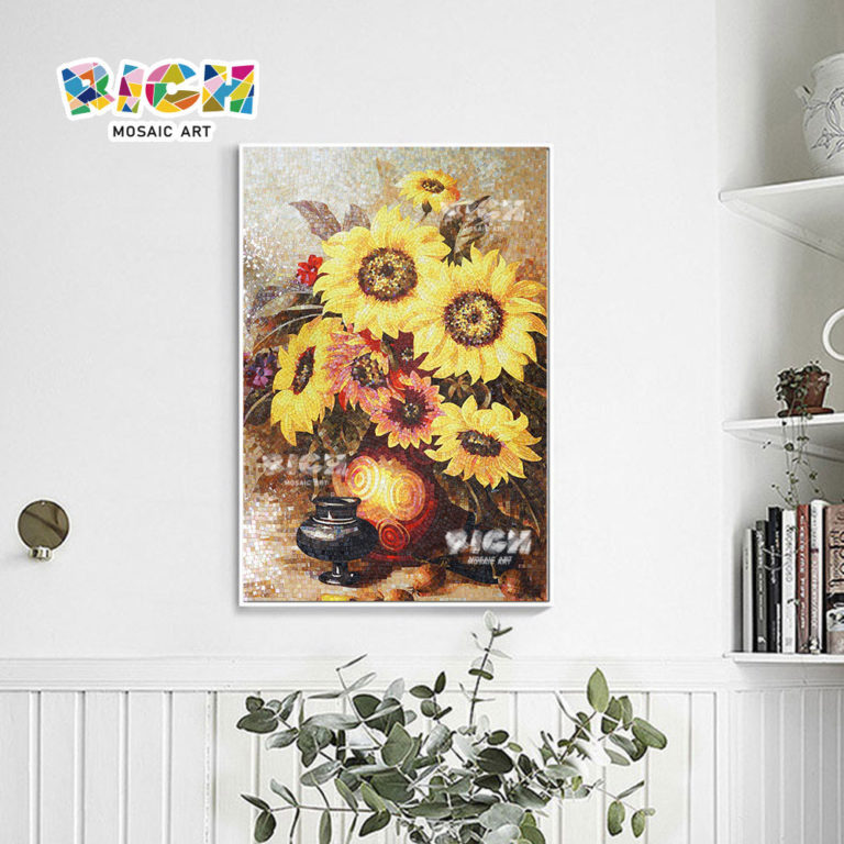 RM-FL30 Mosaic Picture Sunflower Pattern For Reading Room Decoration