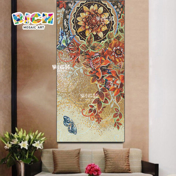 RM-FL32 προσαρμοσμένο λουλούδι παζλ γυαλί μωσαϊκό τοίχο κεραμίδι
