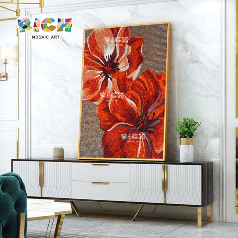 RM-FL33 rode bloem tegels ambachtelijke mozaïek kunst ontwerpen