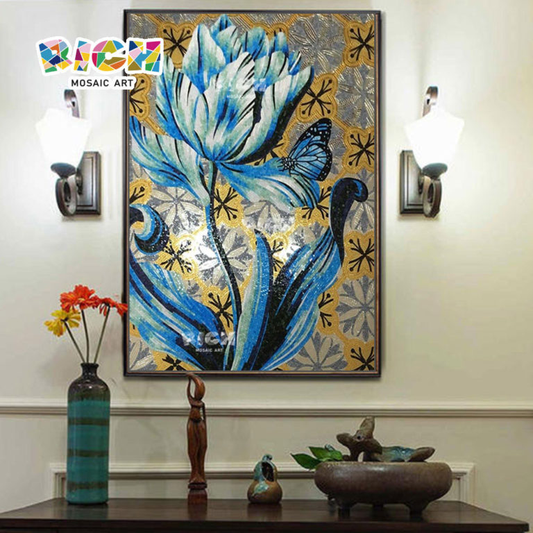 RM-FL34 Cheap Price Art Mural Wall Backsplash Blue Flower Patterns Glass Mosaic Tile