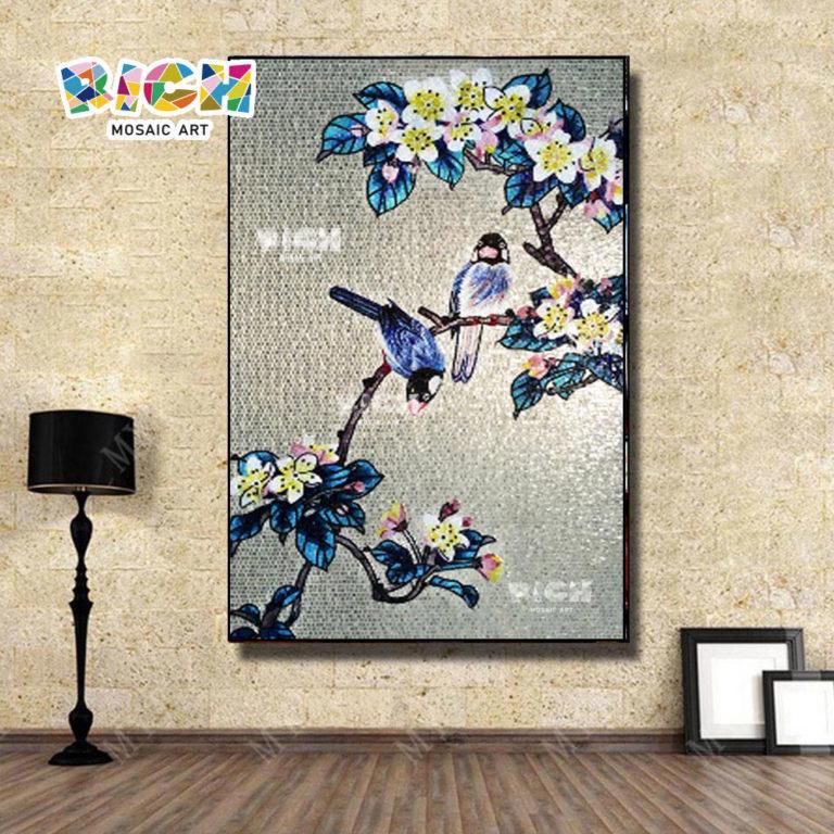RM-FL35 flor agradable arte fotos mosaico Mural hecho a mano
