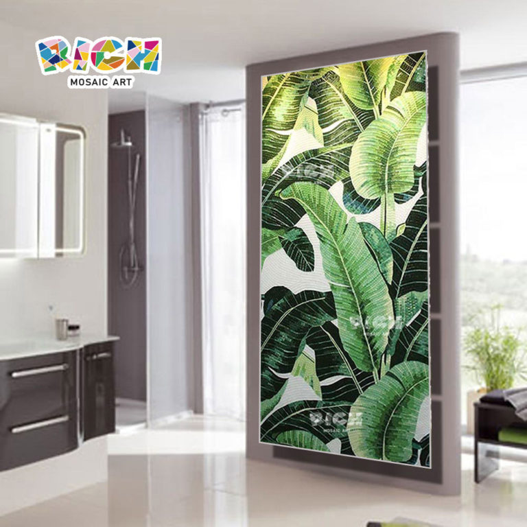 RM-FL37 Green Leaf Of Plantain Pattern Living Room Background Wall Tile Mosaic Mural