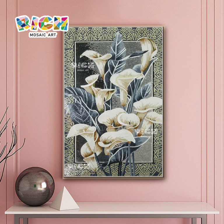 RM-FL39 Calla Lily Handmade Glass Wall Mural Mosaic Tile Picture