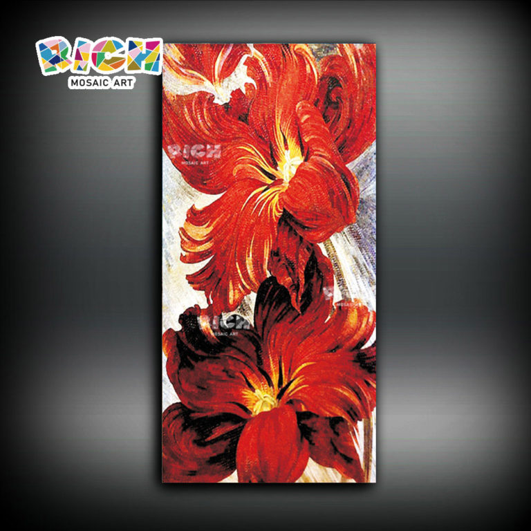 RM-FL41 New Design Flower Firework Painting Glass Mosaic Art Mural