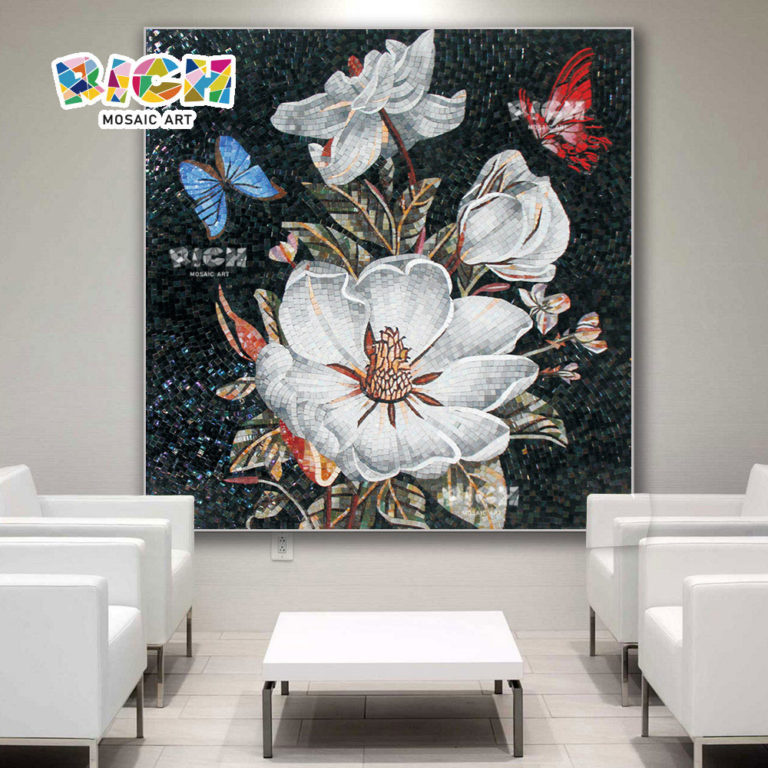 RM-FL42 Reception Room Backsplash Wall Flower Mural Art