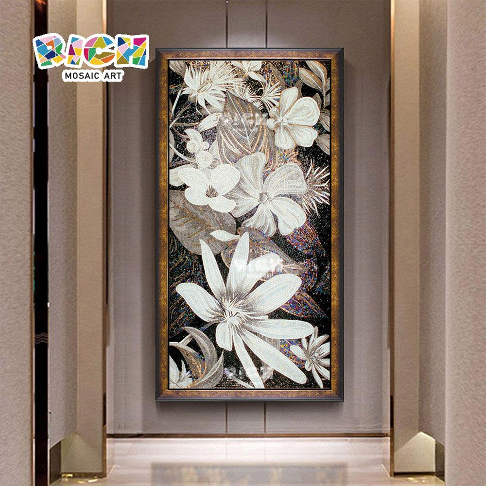 RM-FL47 Flower Pattern Hanging Mosaic Artwork Mural