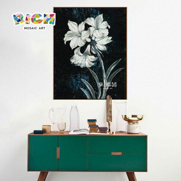 RM-FL49 Elegant Lily Flower Mosaic Decoration Mural