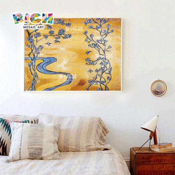 Mosaicos de parede de quarto sumido de padrões dourados RM-FL50