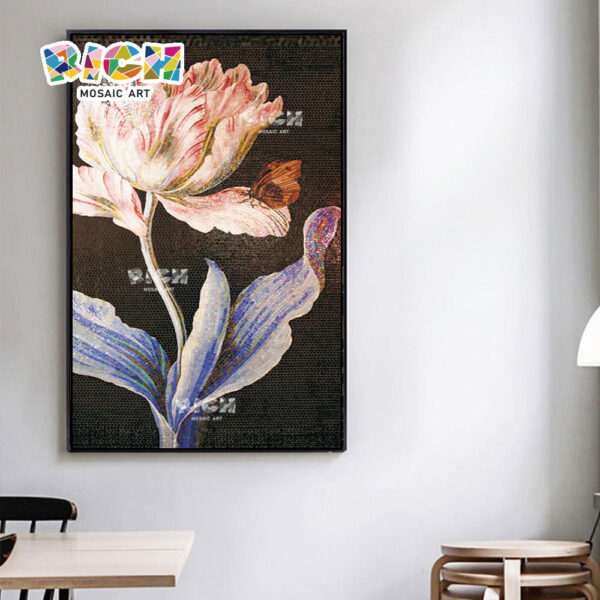 RM-FL51 Dinner Room Wand glasblume Kunst Wandbild