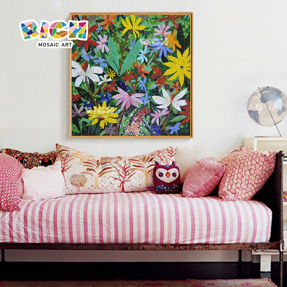 RM-FL52 TV pared fondo Mural de flores de colores