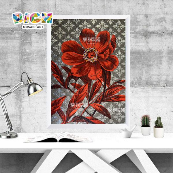 RM-FL54 Study Room fleur rouge décorer mur de mosaïque