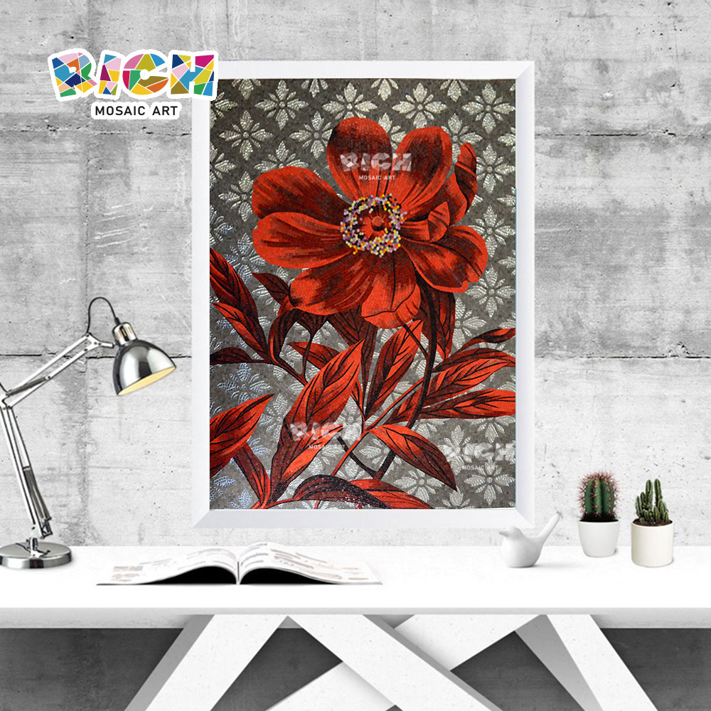 RM-FL54 Study Room Red Flower Decorate Wall Mosaic