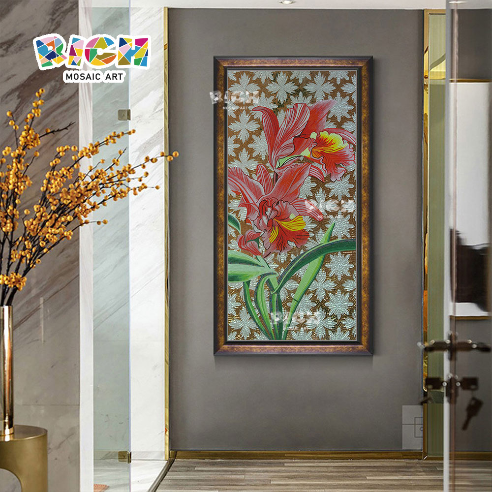 RM-FL55 Wholesale Low Price Flower Glass Mosaic Patterns