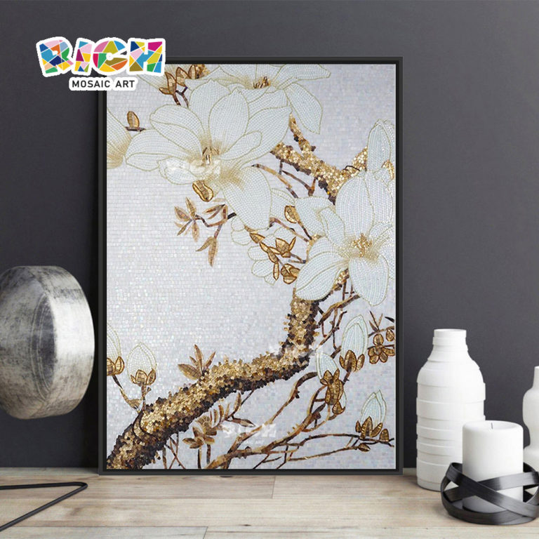 Modèle RM-FL57 mur intérieur décoration tuile de mosaïque de verre fleur images