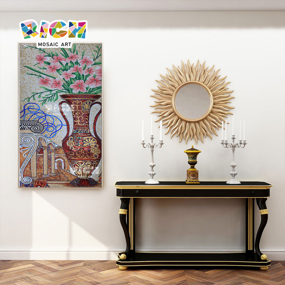 RM-FL58 Vase Design Pattern Handcut murale Art mosaïque