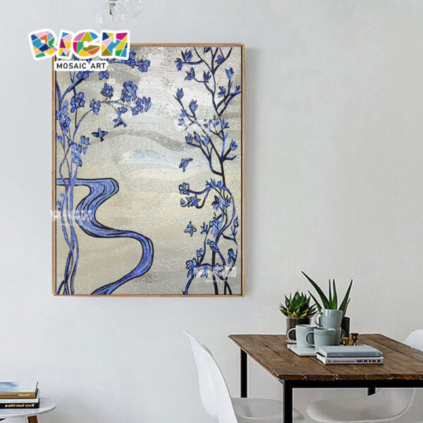 جمهورية مقدونيا-FL61 زهرة زرقاء فضية بلاط مكتب فن الفسيفساء