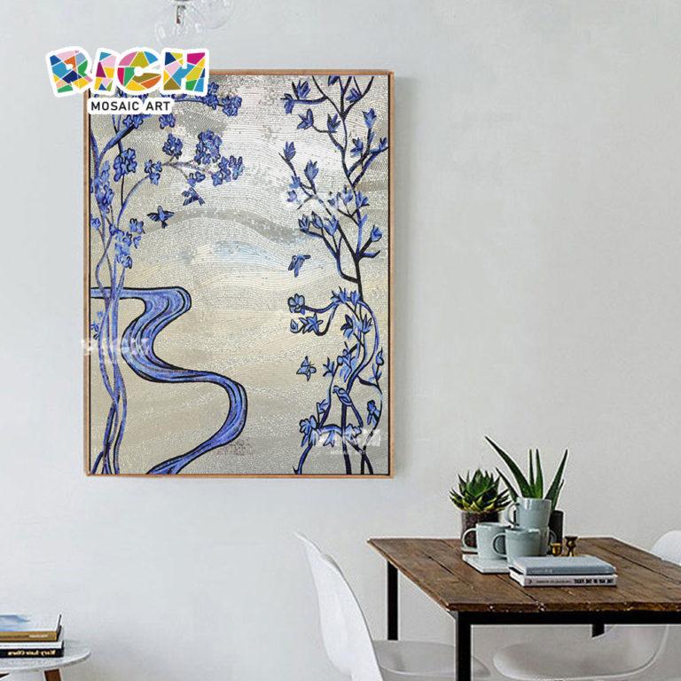 RM-FL61 flor azul prata Backsplash escritório arte do mosaico